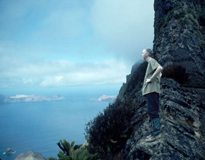 Photo of Greg Anderson on Yunke in the Juan Fernandez islands, Chile